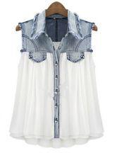 Stiching Denim Lapel Sleeveless White Chiffon Shirt $38 #SheInside