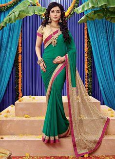 Green Chiffon Tanu weds Manu Inspired Saree