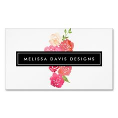 Watercolor Florals Beauty and Design Business Card Template - Ready to customize! Perfect for beauty salons, hairstylists, floral designers, event planner, event stylists, makeup artists and more.