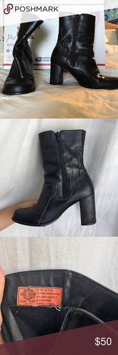 Harley-Davidson Riding boots Leather riding boots, with engraved flame on side. Nothing wrong with them just not the right size! Heeled with rubber bottoms/ no slip material. Size women's 7.5-- feel free to place an offer:) all questions welcome! Harley-Davidson Shoes Combat & Moto Boots