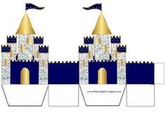 Corona Dorada en Azul y Brillantes: Caja con Forma de Castillo para Recuerdos de Bodas para Imprimir Gratis.