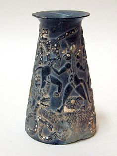 Early Iranian Chlorite Vase with Shell and Turquoise Inlay by Ancient Art, via Flickr