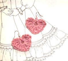 Crochet rose color heart earring