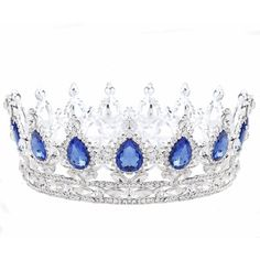 Zebratown Silver Tiaras and Crown Sapphire Blue Rhinestone Crystal... ($20) ❤ liked on Polyvore featuring accessories, hair accessories, crystal crown, party tiaras, rhinestone hair accessories, blue flower crown and rhinestone crowns