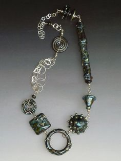 Wild Ginger Necklace in Metallic Black: handmade glass lampwork beads with sterling silver components