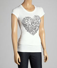 Another great find on #zulily! White Heart Cap-Sleeve Tee #zulilyfinds