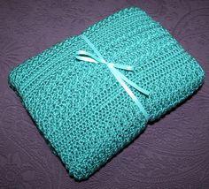 Hand Crocheted Baby Afghan  Aqua Heirloom by SantasStitchery