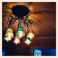 Home made glass insulator chandelier.