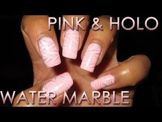 Pink & Holo | Water Marble March 2016 #10 | Nail Art Tutorial - YouTube