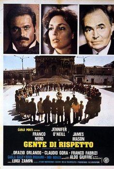 """The Flower in His Mouth (1975)  """"Gente di rispetto"""" (original title) Stars: Jennifer O'Neill, Franco Nero, James Mason ~ Director: Luigi Zampa"""