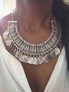 Silver Coin Gypsy Boho Necklace