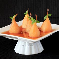 Poached Pears in Homemade Grape Wine