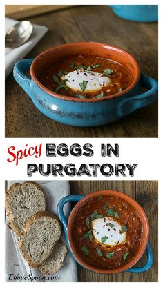 My favorite spicy egg dish! Saucy with some heat and delicious eggs in purgatory with fresh basil! Enjoy Prego® Farmers' Market #PickedAtPeak #ad | ethnicspoon.com