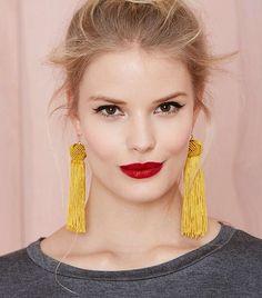 Vanessa Mooney Astrid Tassel Earrings  in Mustard