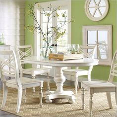 Riverside Furniture Placid Cove 42 Inch Round/Oval Dining Table in Honeysuckle White Perfect for my apartment!