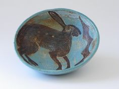 Michelle Cowmeadow -   Shallow Hare Bowl with holly detail