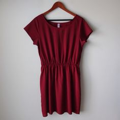 "Alya dress Dark burgundy/red wine colored dress - Alya Brand - elastic waist - small belt loops - short sleeves - lined - polyester - made in USA - chest across measures 18"" - total length measures 34"" - size L but fits like M Francesca's Collections Dresses"