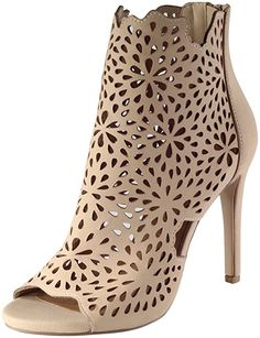 Delicious Women's Fatina Floral Laser Cut Open Toe Stiletto Heel Bootie