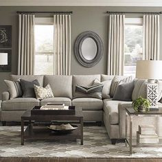 L-Shaped Sectional, side console with 2 ottomans under