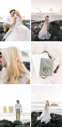 This romantic sunset beach elopement with touches of blue and gold will definitely inspire your own outdoor wedding photography session and editorial. Perfect for the minimalist bride who loves the elopement wedding style. #elopementweddings #weddingeditorial #beachweddinginspiration #elegantbridalinspiration