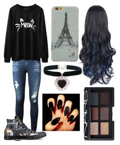 """""""#21"""" by andreea-ioa-na on Polyvore featuring AG Adriano Goldschmied, Converse, Rock 'N Rose and NARS Cosmetics"""
