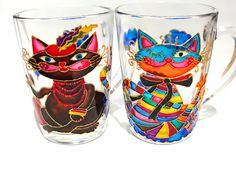 Hand Painted Mug Coffee Tea Psychedelic Cat Cup Made by Vitraaze, $15.00