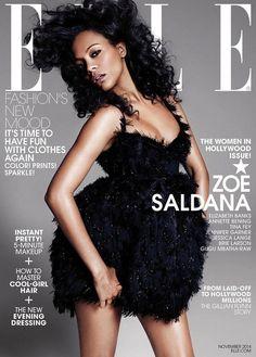 Zoe Saldana covers ELLE November 2014 issue. // Photo by Paola Kudacki