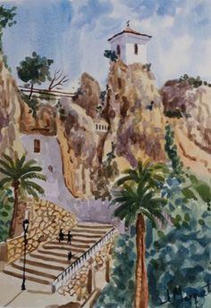 Acuarela 25x35 cm. Castell de Guadalest