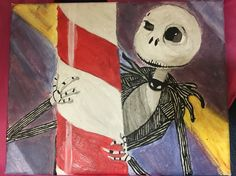 An acrylic painting of The first time Jack skellington sees Santa Claus in Nightmare Before Christmas