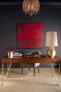 A bold pop of red in in this warm and chic home office makes the space. #VTHome