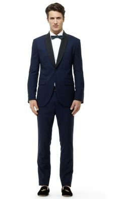 I find this store often overlooked - consider Club Monaco's Modern Tuxedo Blazer in Navy for your next formal soireé