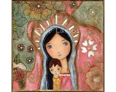 Madonna of the Flowers Folk Art  Print from Painting by FlorLarios, $15.00