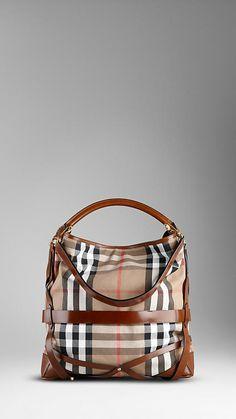 Large Bridle House Check Hobo Bag #Burberry, $1300