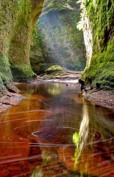 Finnich Glen, Loch Lomond, Scotland Loch Lomond is a freshwater Scottish loch which crosses the Highland Boundary Fault. Places Around The World, Oh The Places You'll Go, Places To Travel, Places To Visit, Around The Worlds, Beautiful World, Beautiful Places, Loch Lomond Scotland, Scotland Travel
