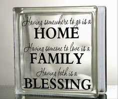 Family Home Blessings Glass Block Decal Tile Mirrors DIY Decal for Glass Blocks Family Home Blessings on Etsy, $5.00