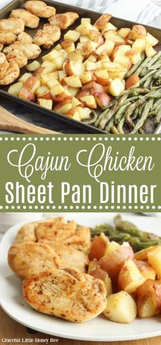 Try this Cajun Chicken Sheet Pan Dinner for a quick and easy weeknight meal! Find the recipe at gracefullittlehoneybee.com #sheetpandinner #chicken #greenbeans #cajun Quick Weeknight Meals, Easy Meals, Easy Cooking, Cooking Recipes, Sweets Recipes, Healthy Chicken Recipes, Turkey Recipes, Yum Yum Chicken, Healthy Dinner Recipes
