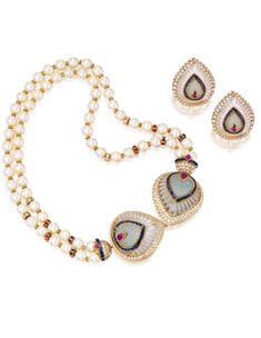 18 Karat Gold, Diamond, Cultured Pearl and Colored Stone Necklace and Earclips, Boucheron, France   Lot   Sotheby's