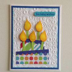 Birthday cake-blue, love the embossing folders background