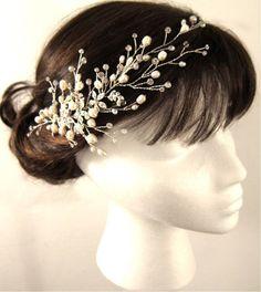 Freshwater Pearl Crystal Vine Headband cluster of by Motrya, $110.00