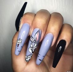 On average, the finger nails grow from 3 to millimeters per month. If it is difficult to change their growth rate, however, it is possible to cheat on their appearance and length through false nails. Disney Acrylic Nails, Disney Nails, Best Acrylic Nails, Aycrlic Nails, Swag Nails, Nails 2018, Coffin Nails, Grunge Nails, Fabulous Nails