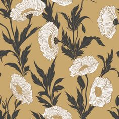 POPPY   The Art Nouveau floral wallpaper design, Poppy, is now blowsy and brazen in cerise and dove grey on silver; paper white and black on ochre; purple and grey on violet or flame and pewter on grey. Cole & Son 81/1003 Collection of flowers