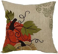 Xia Home Fashions Pumpkin Embroidered Polyester with Suede Accents Fall Decorative Pillow with Polyester Fill, 16 by Diy Pillows, Accent Pillows, Floor Pillows, Decorative Throw Pillows, Cushions, Pillow Ideas, Best Pillows For Sleeping, Felt Pillow, Lumbar Pillow