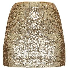 Violette Gold Sequin Mini Skirt (€29) ❤ liked on Polyvore featuring skirts, mini skirts, short skirts, sequin skirt, short gold skirt, short sequin skirt and party skirts