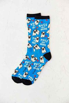 Pugs Not Drugs Sock - Urban Outfitters