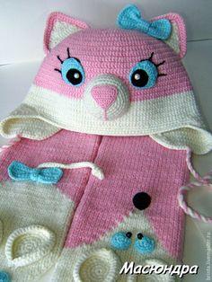 """Купить Комплект """"Кошки-мышки"""" - кошки-мышки, шапка-кошка, шарф детский, шарф-мышка"""