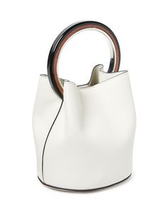 Marni's new-season collection is loaded with geometric details, and this white leather bag is a fresh illustration. It has an unlined shape that secures with a press-stud fastening, and can be carried through the city by the distinctive circular handle. Use it to give sophisticated looks a modern feel. Women's Handbags & Wallets - http://amzn.to/2iZOQZT