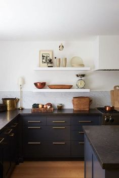 The Best Kitchen Paint Colors in 2019 - The Identité Collective Kitchen color trends for 2019 include shades of green, warm neutrals, natural wood, two-toned, and monochromatic dark paint. Kitchen Color Trends, Kitchen Paint Colors, Paint Colours, Black Kitchen Paint, Stain Colors, Modern Kitchen Design, Interior Design Kitchen, Kitchen Designs, Minimal Kitchen