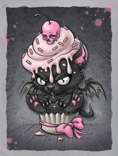 Coque iPhone 'Goth Kitty in Cupcake' par Spikeynator - cupcake desenho Gothic Kunst, Pink And Black Wallpaper, Cupcake Tattoos, Illustration Tattoo, Graffiti, Arte Horror, Horror Art, Creepy Cute, Fantasy Art