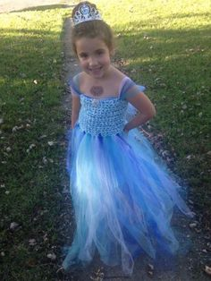 *This listing is for a made to order custom Crochet princess, party, flower girl dress.    *Top is crochet bottom is tulle    *Crochet top is 100% cotton    *This dress can be made custom to size and you can choose all colors used or you can tell me a princess to model the dress after. For example, the pictured dress was inspired by Elsa from Frozen.    *Dress in picture has broach in middle but I can do anything for accents on the dress, ribbons, flowers (crochet or silk), beads, or another…