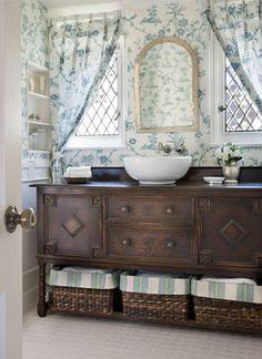 Repurposed buffet - now a bathroom vanity! #repurpose